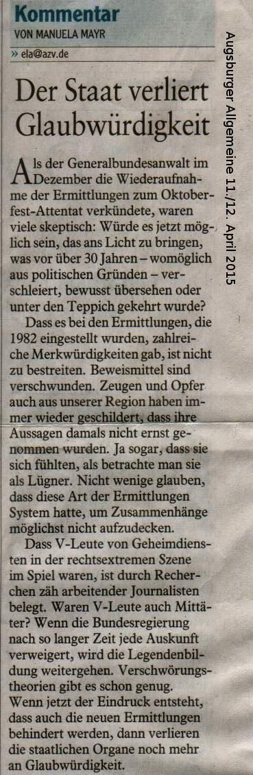 Kommentar Augsburger Allgemeine 11.04.2015