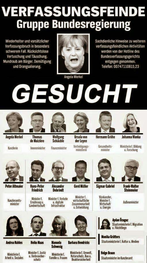 Plakat via Twitter, 2015-08-26 - Verfassungsfeinde. Gruppe Bundesregierung. Gesucht