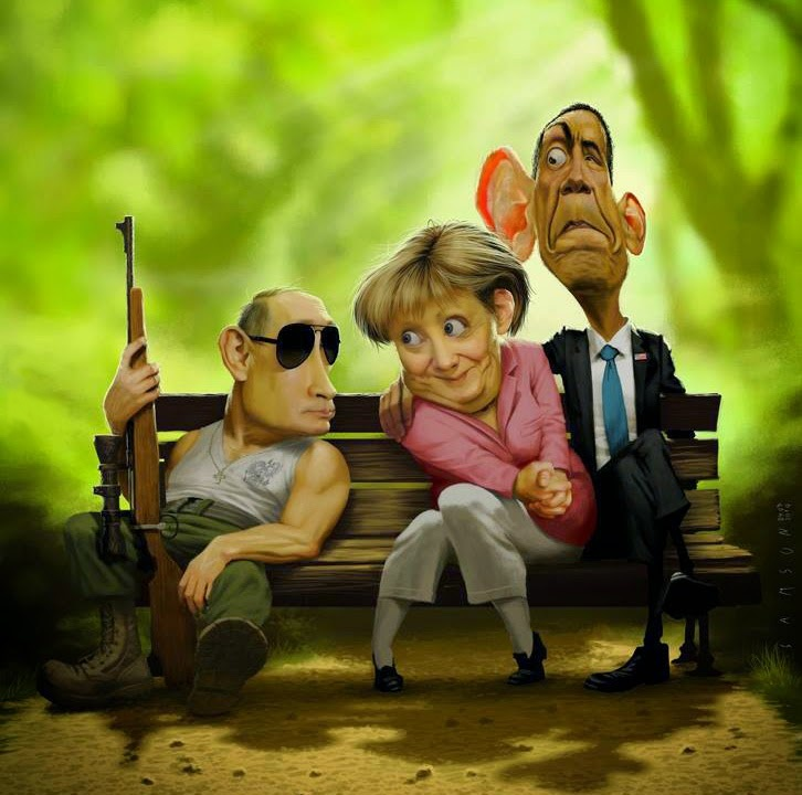 merkel-mit-obama-und-putin-auf-einer-parkbank-2014-09-13