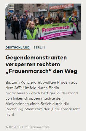 Grünlinke gegen Frauenmarsch, Antifa prügelt für Merkel, Volkslehrer ...